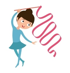 Teenager doing gymnastics dance with ribbon vector image