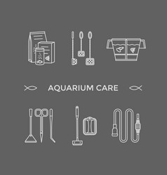 thin line icons - aquarium care tools vector image