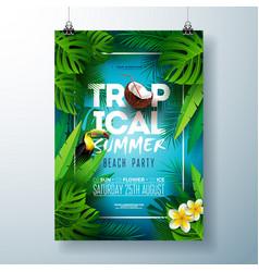tropical summer beach party flyer design vector image