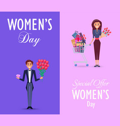 two color cards on womens day with special offer vector image