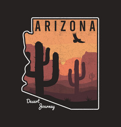 vintage arizona t-shirt design with cactus vector image