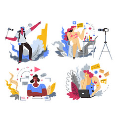 Web blogging bloggers or content makers isolated vector