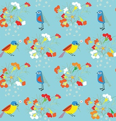 Whimsical floral background with birds for vector image