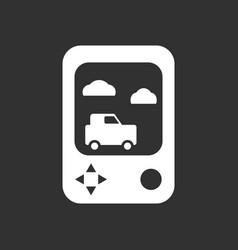 White icon on black background portable game vector
