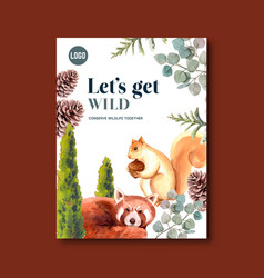 Winter animal poster design with pine tree vector