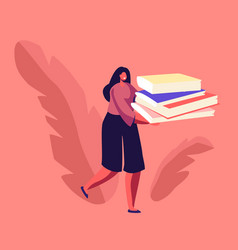 Woman carry huge pile paper documents or vector