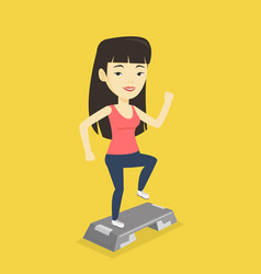 Woman exercising on stepper vector