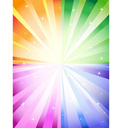 A colorful background with a burst and stars vector image