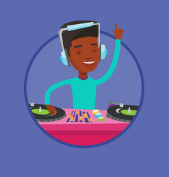 dj mixing music on turntables vector image vector image