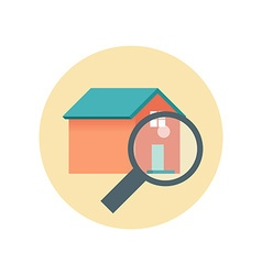 Flat Design Realty Icon Home with Magnifying Glass vector image