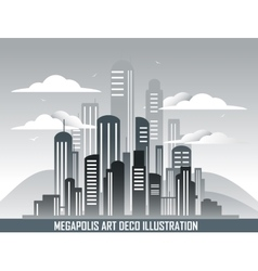 Retro megalopolis in art deco style vector image vector image