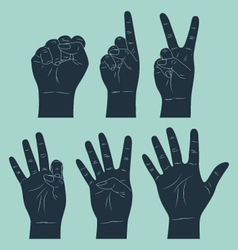 set of counting hand vector image vector image