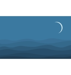 Silhouette of desert at the night landscape vector image