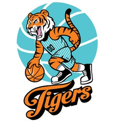 Tiger basketball mascot vector image