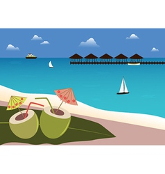 Coconuts cocktails on Tropical Beach vector image