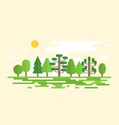geometric forest landscape in flat design vector image vector image