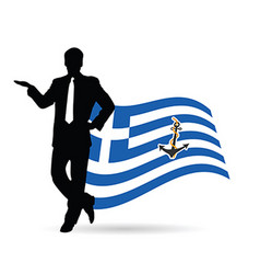 man pose front of greek flag silhouette vector image