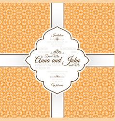 orange vintage linear arabic pattern card vector image