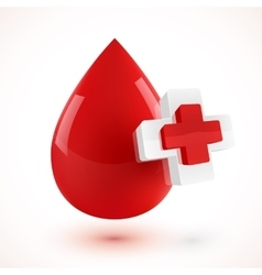 Red 3D style blood drop with plus symbols vector image