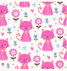 seamless with pink cats vector image