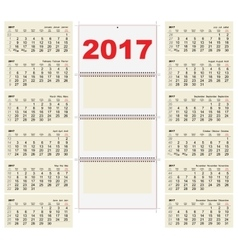 Template grid Wall Calendar 2017 First Day Monday vector image