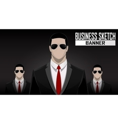 business team standing over dark background vector image