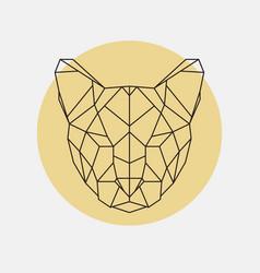 head of wild cat puma geometric style vector image