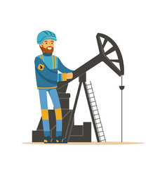 oilman working on an oil rig drilling platform vector image vector image