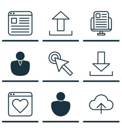 Set of 9 world wide web icons includes data vector