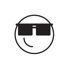 smiling cartoon face wear sun glasses positive vector image