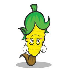 Upside down face sweet corn character cartoon vector