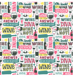 wine hand drawn logo badge seamless patterns vector image