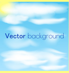 blue sky with clouds and sun sky background vector image vector image