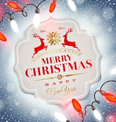 Christmas card with holiday type design vector image vector image