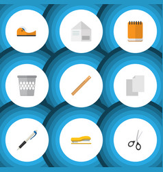 flat icon equipment set of pencil sticky vector image