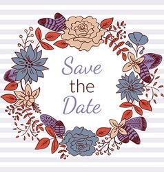 Floral Wreath Card vector image