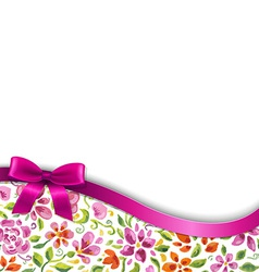 Flowers Card With Pink Ribbon vector image