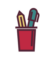 Holder for pens with two objects graphic vector