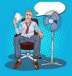 Pop art sweating businessman due to hot climate vector