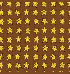 seamless pattern with yellow cartoon stars vector image