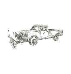 snow plow truck doodle art vector image