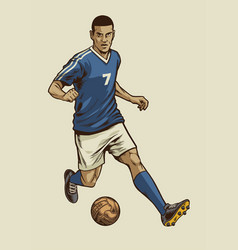 soccer player in hand drawing vintage style vector image vector image