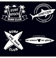 Surfing related labels set vintage vector image vector image