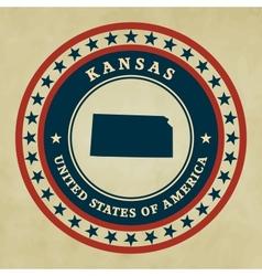 Vintage label Kansas vector image