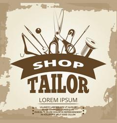 vintage tailor shop label design vector image vector image