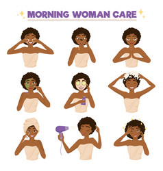 Afro american woman morning routine icon set vector