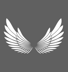 angel wings white silhouette isolated on vector image