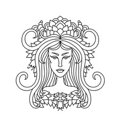 aries girl portrait zodiac sign for adult vector image