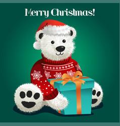 bear stuffed toy celebrating christmas vector image
