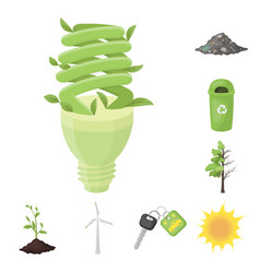 bio and ecology cartoon icons in set collection vector image